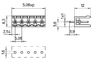 04258VHZ INDUSTRY STANDARD VERTICAL/OPEN ENDS PCB HEADERS